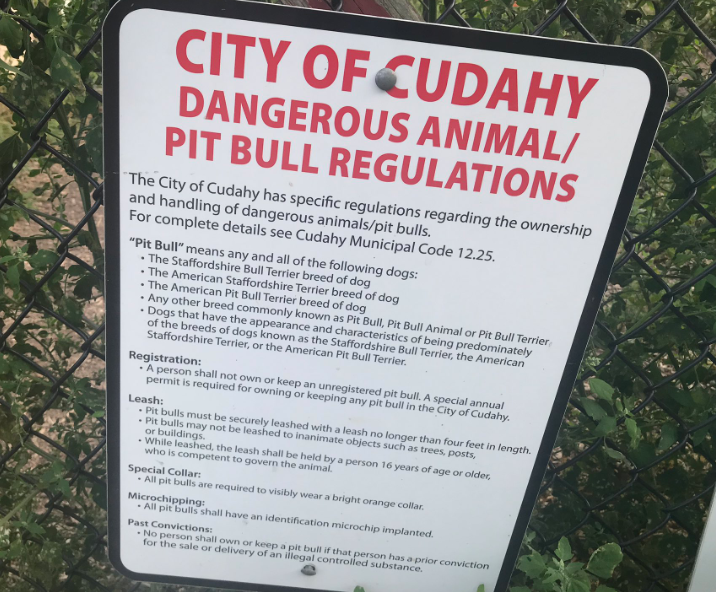 City of Cudahy rules for pit bulls