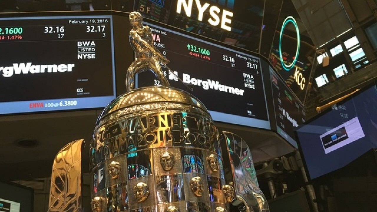 PHOTOS: Borg-Warner Trophy and NYSE closing bell