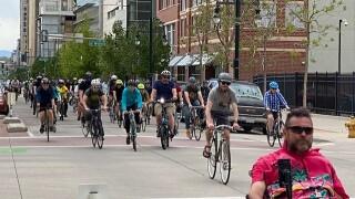 Critical Mass ride in downtown Denver