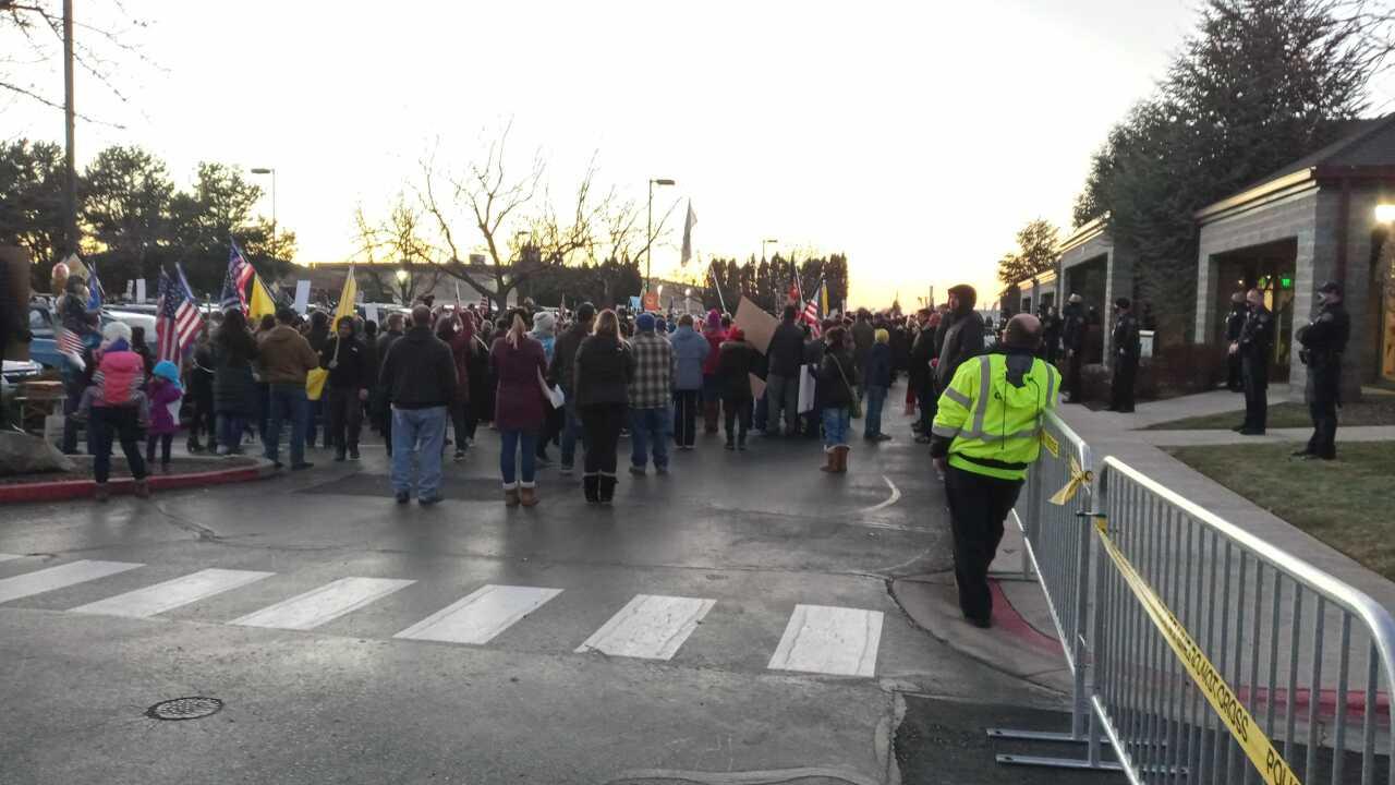 Protestors outside CDH
