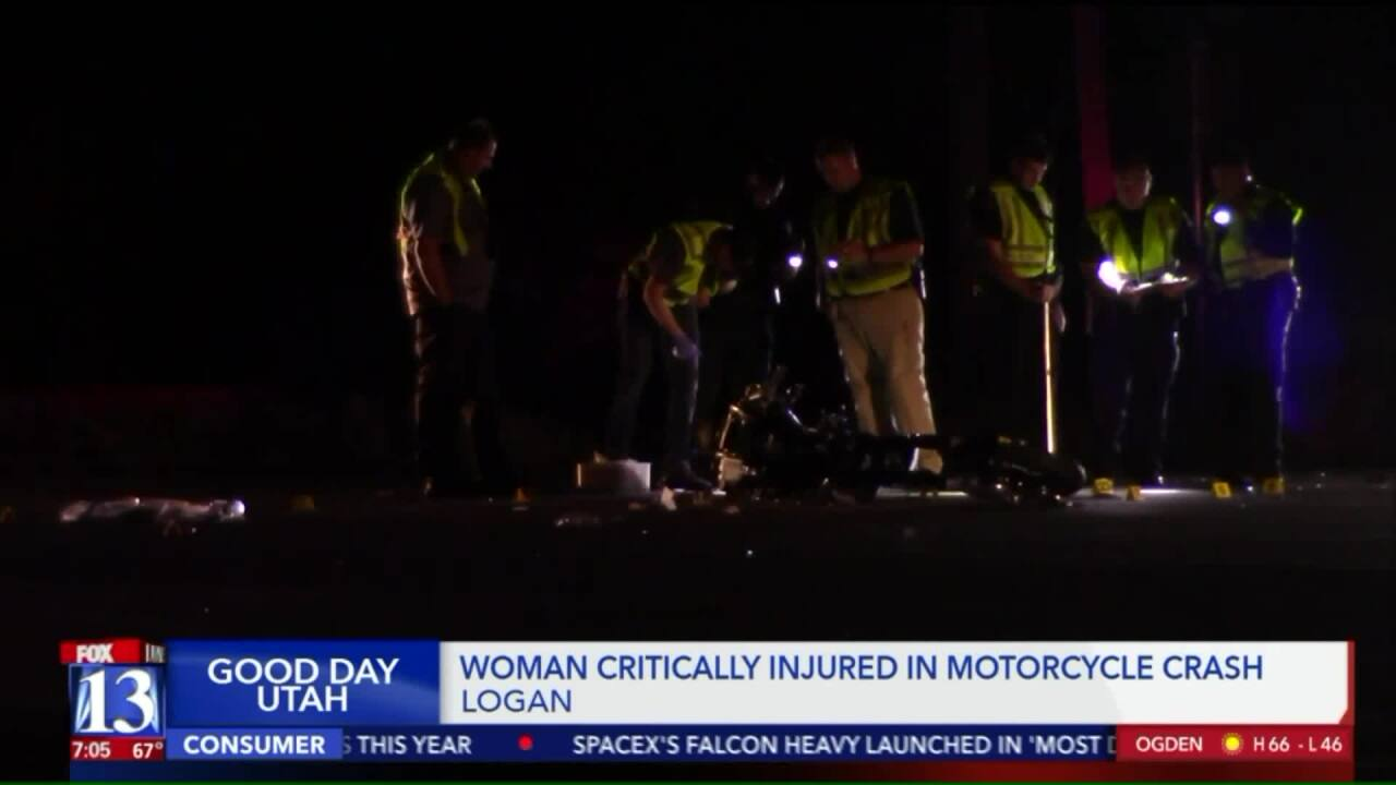Woman critically injured after truck collides with motorcycle in Logan