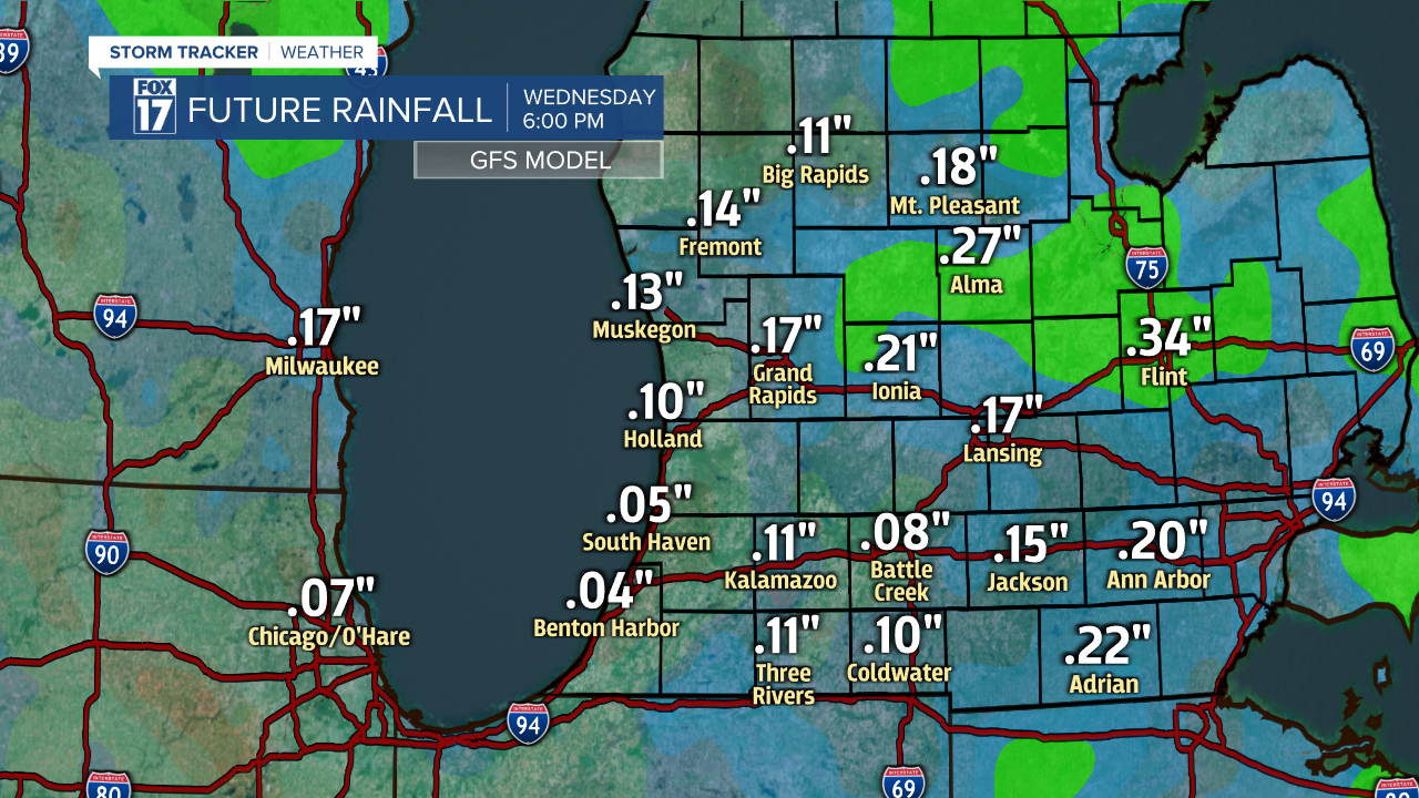 Rainfall Amounts Through Wednesday