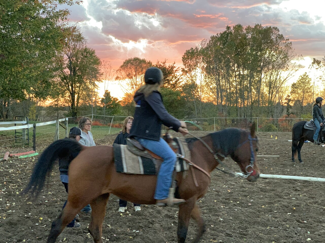 Hopkins equestrian team practices for the state meet