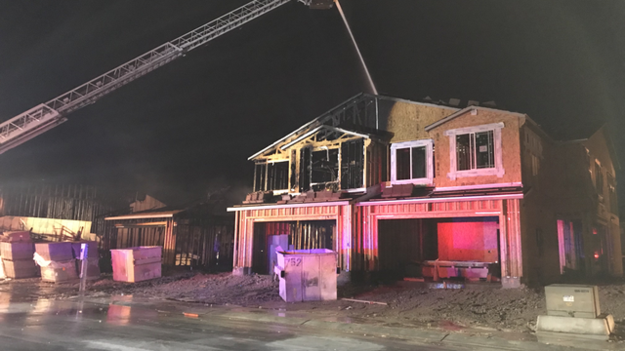 Firefighters battle 2-alarm blaze in NLV