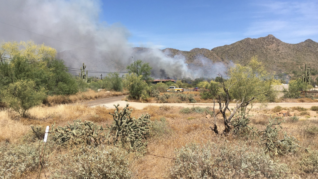 FD: Brush fire spreads to motorhome, shed in Cave Creek