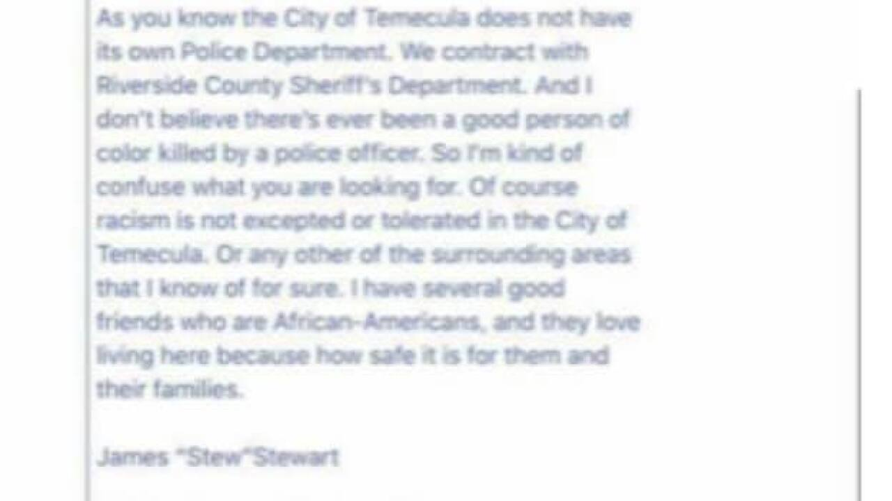 Temecula mayor quits after writing that no 'good person of color' has been killed by local police