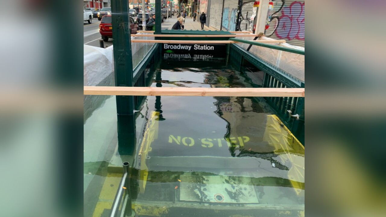 A subway entrance was flooded because New York is preparing for climate change