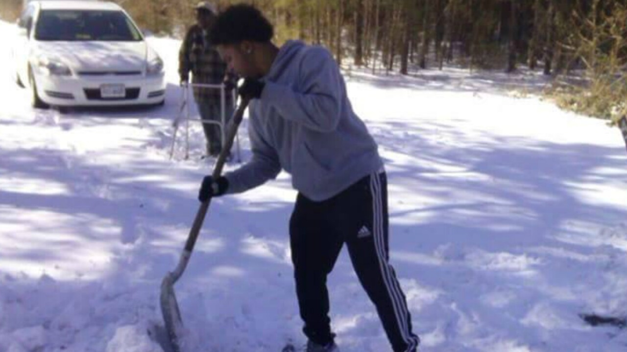 Act of Kindness: Teen stops car to shovel snow for man with walker