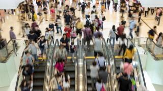 Escalator crowded mall shopping