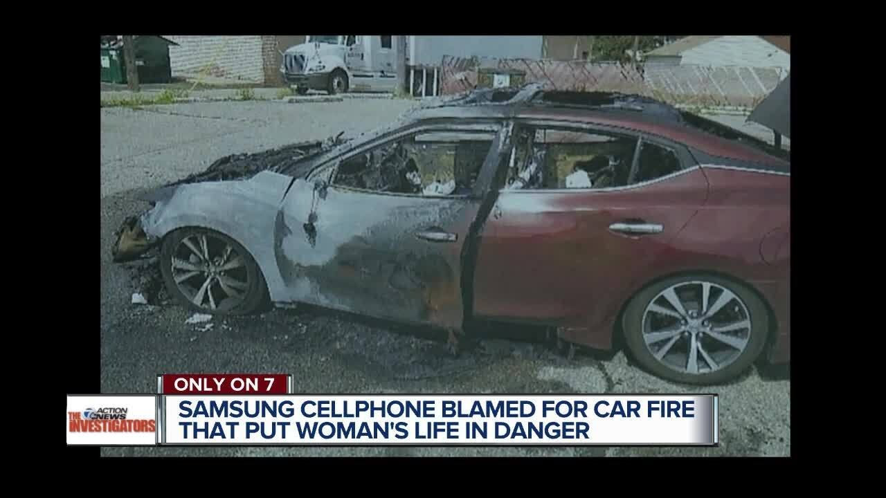 Woman says Samsung phone caught fire while she drove, destroying her car