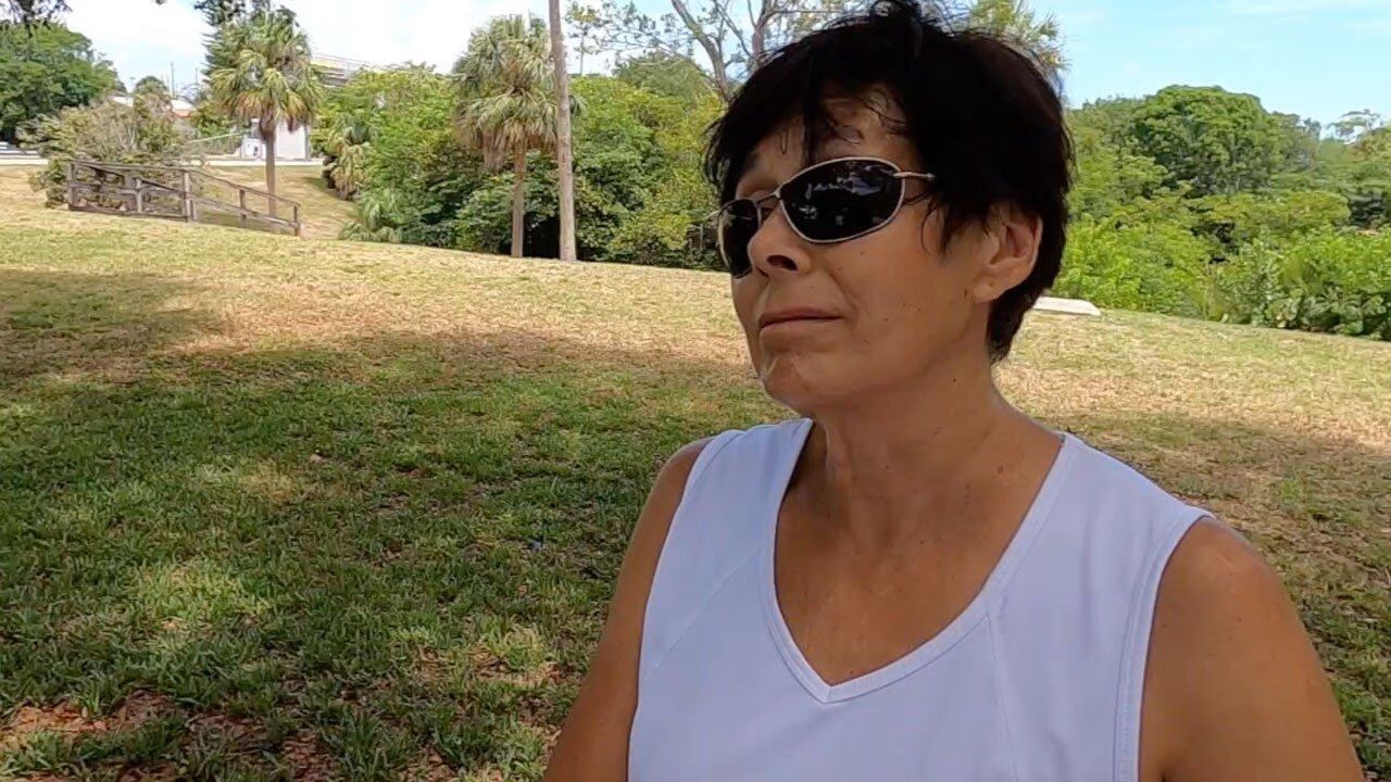 Lee, woman who feeds animals at Spillway Park in Lake Worth Beach