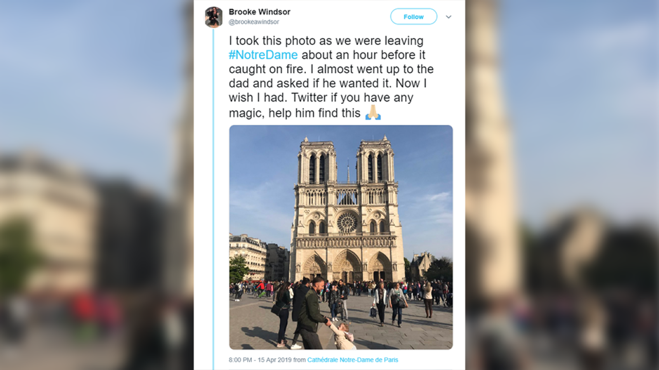 The world searches for 'dad and daughter' in viral Notre Dame photo taken an hour before fire
