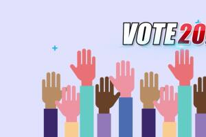 Katia Uriarte's 2020 Voting Guide featuring the League of Women Voters