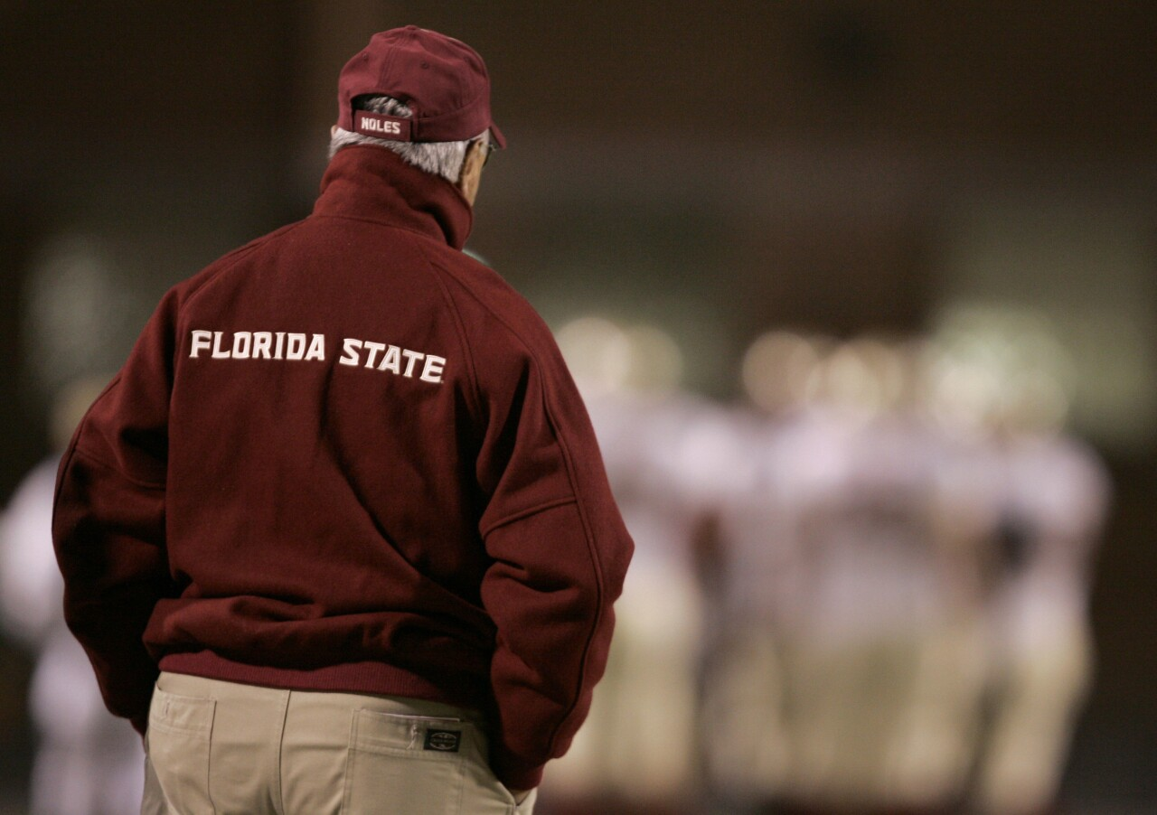 Florida State Seminoles head coach Bobby Bowden from behind watches team in loss at Maryland in 2006