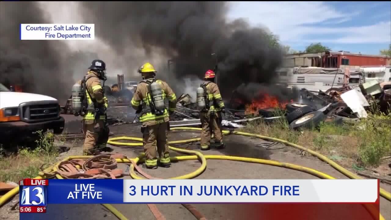 Three injured in junkyard fire in Salt LakeCity
