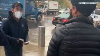 Video: Paul Rudd passes out cookies to voters waiting in the rain