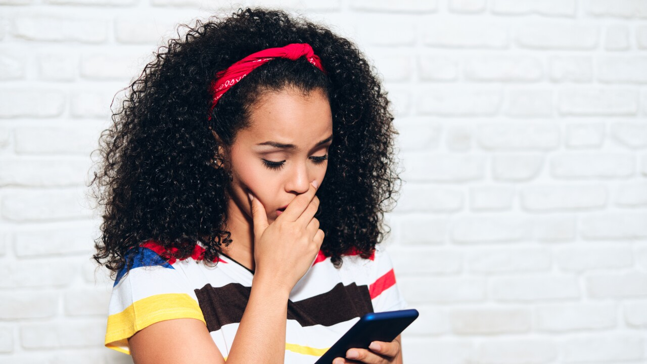 Sad Desperate Girl Woman Receiving Bad News On Cell Phone
