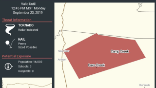 Tornado warning issued for Cave Creek, New River areas