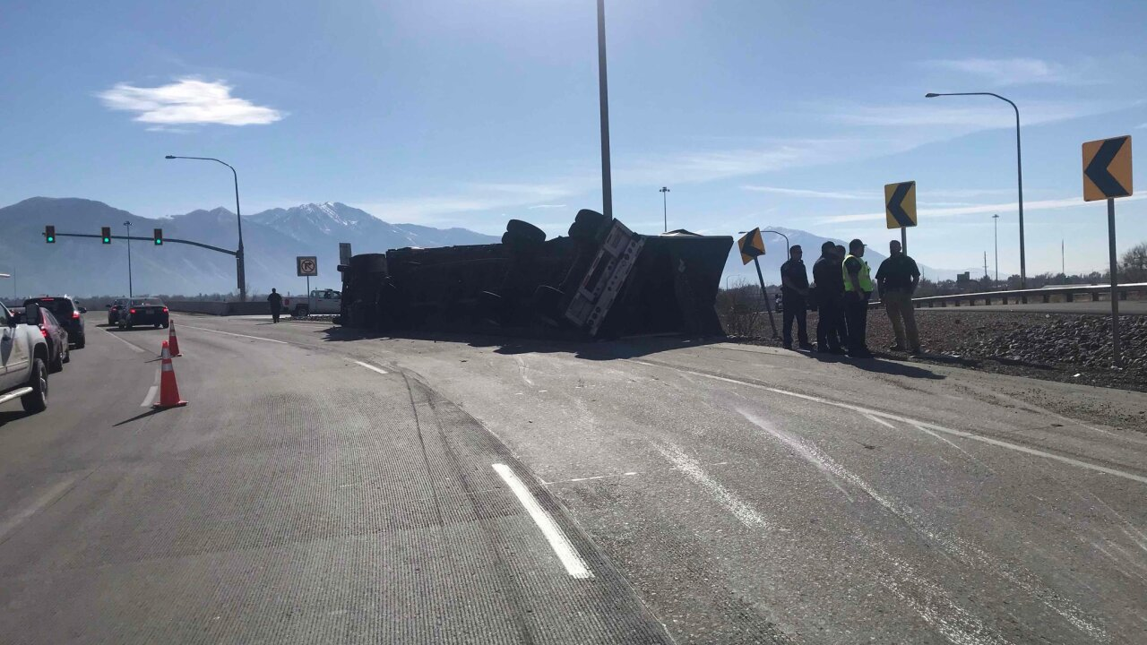 Semitrailer hauling granite slabs overturns in Spanish Fork