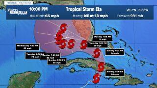 Tropical Storm Eta 10 p.m. Saturday cone