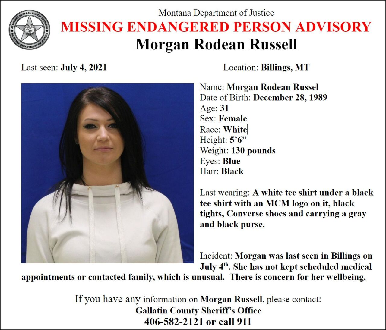 Missing/Endangered Person Advisory for Morgan Russell