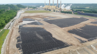 Coal ash impoundment at the Ghent Generating Station