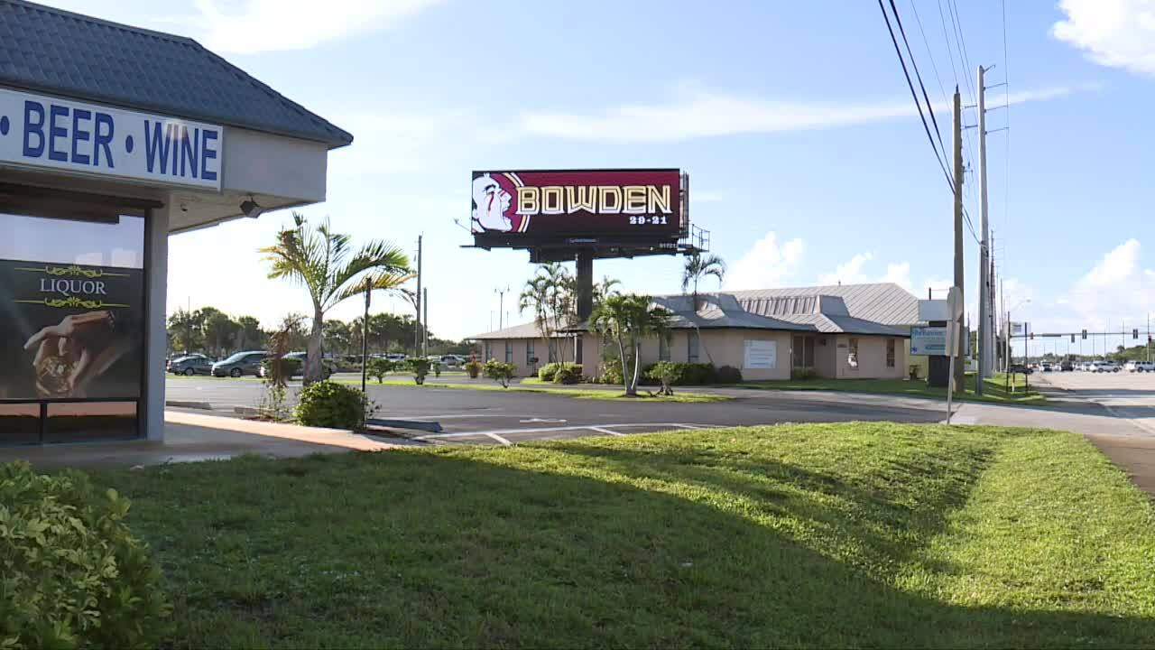 Electronic billboard pays tribute to Bobby Bowden in Port St. Lucie, Aug. 12, 2021