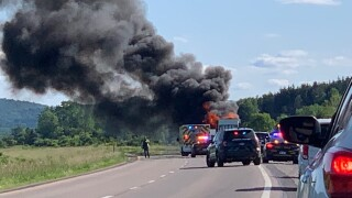 Tractor trailer fire on I-86 in Friendship Photo: Subie Cort
