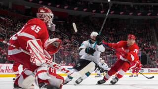 Red Wings snap six-game skid with shutout win over Sharks