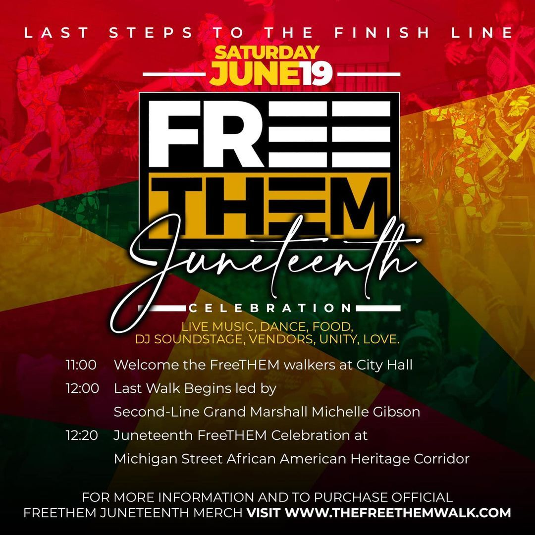 Free Them walkers finish at the African American Heritage Corridor