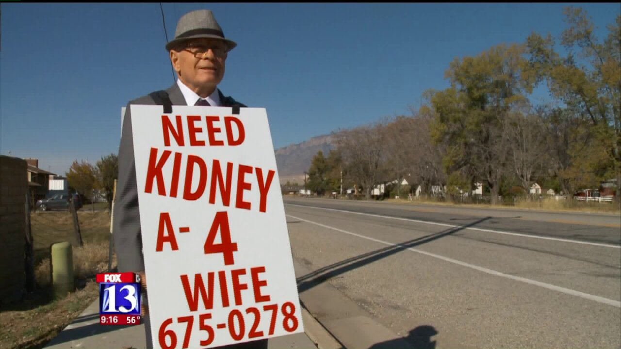 Utah man takes to the streets to find organ donor for wife suffering kidneyfailure