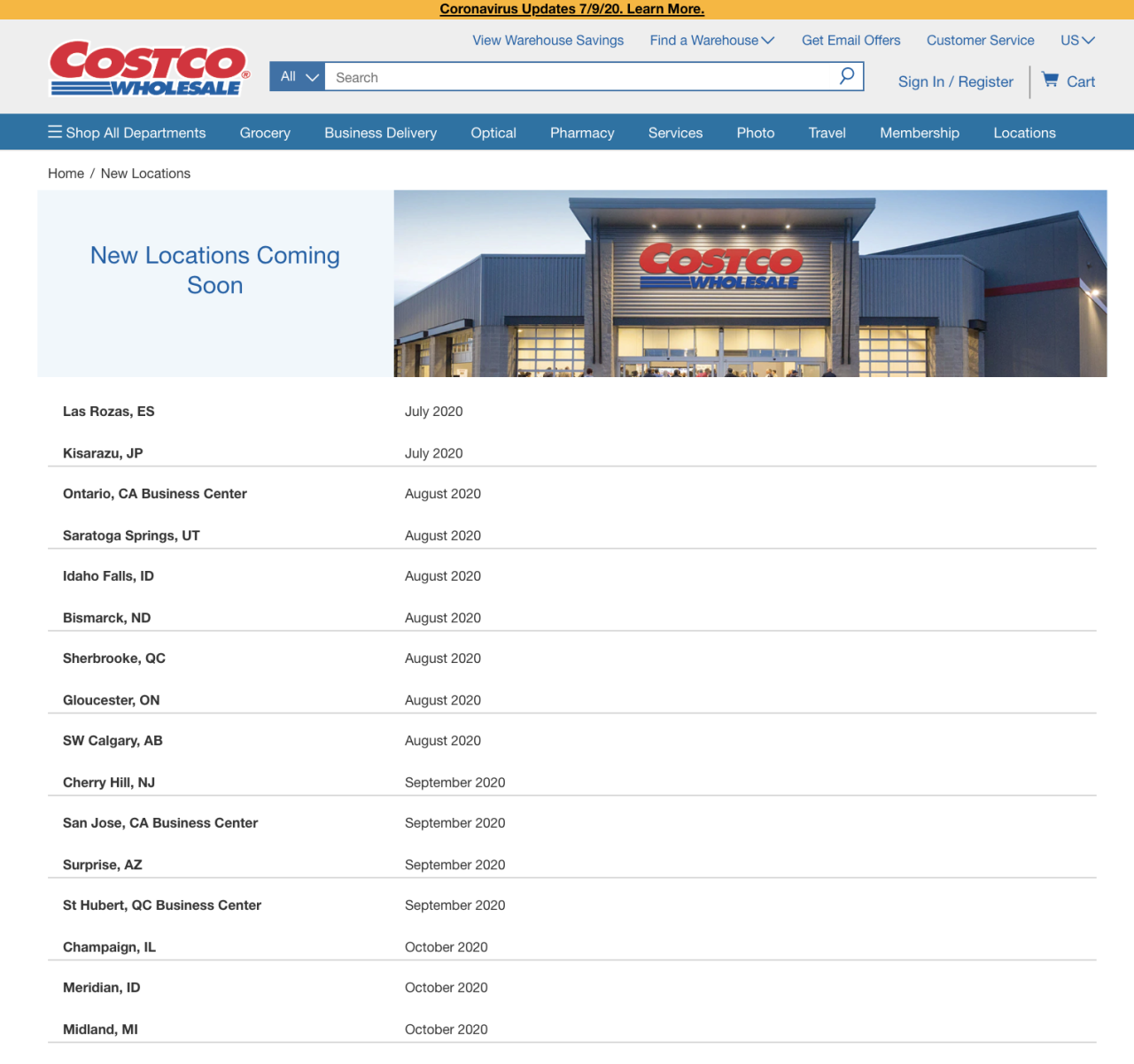 Costco new locations website screenshot