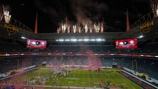 Alabama Crimson Tide fireworks celebration outside Hard Rock Stadium after beating Ohio State Buckeyes in 2021 College Football Playoff National Championship