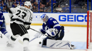 Andrei Vasilevskiy makes save on Dustin Brown