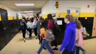 Kids in school blurred