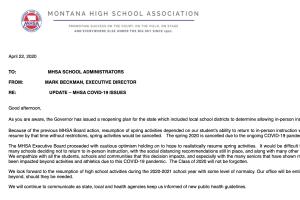 MHSA cancels spring sports