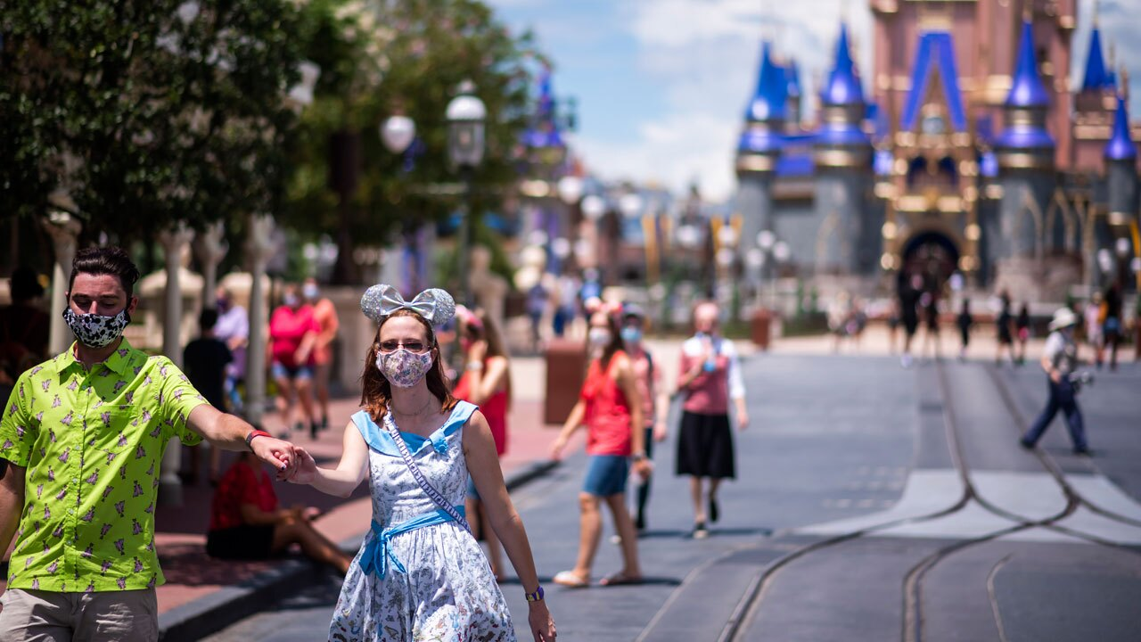 Disney World masked visitors