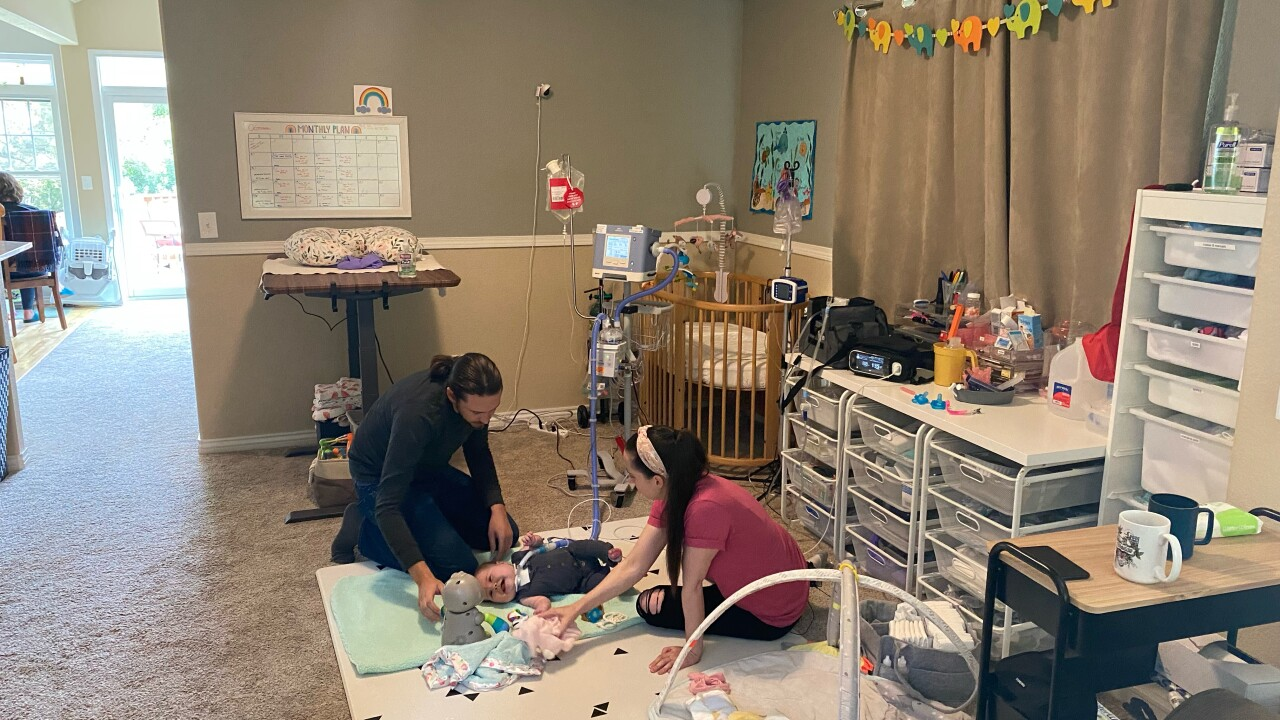 The Knight's have turned their dining room into a makeshift NICU