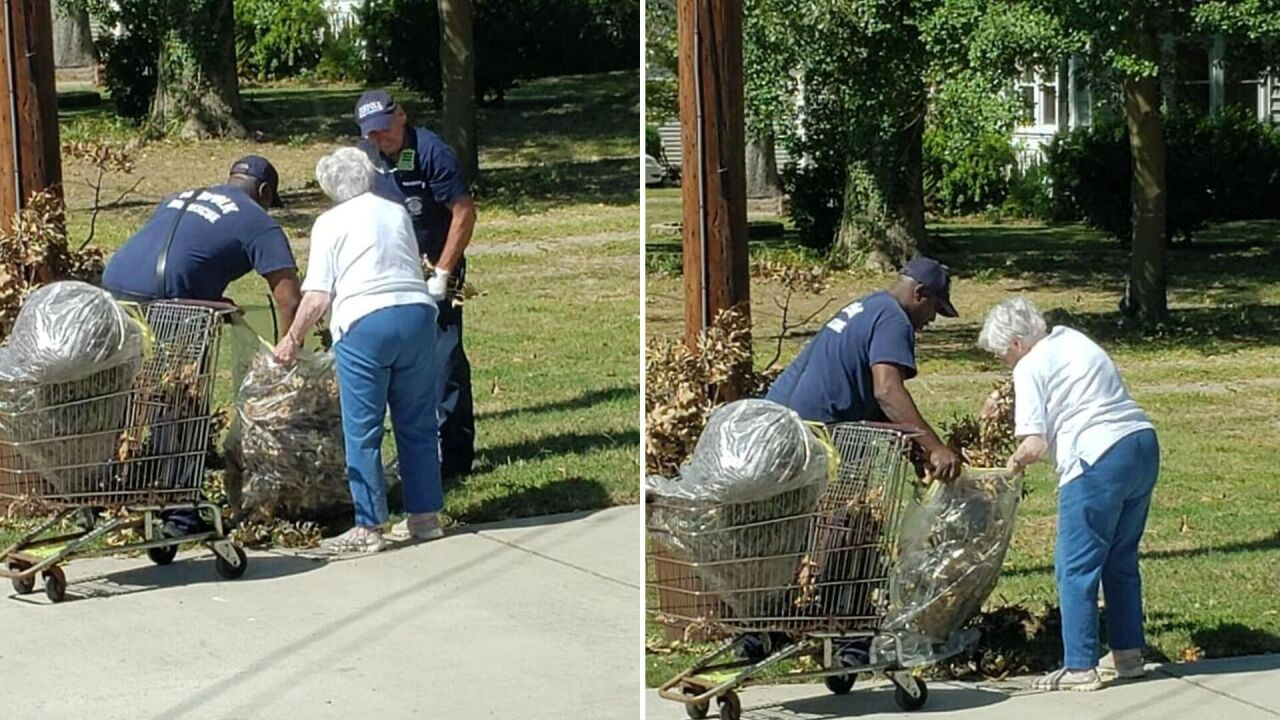 Firefighters assist 102-year-old woman cleaning up Hurricane Dorian debris in Norfolk yard