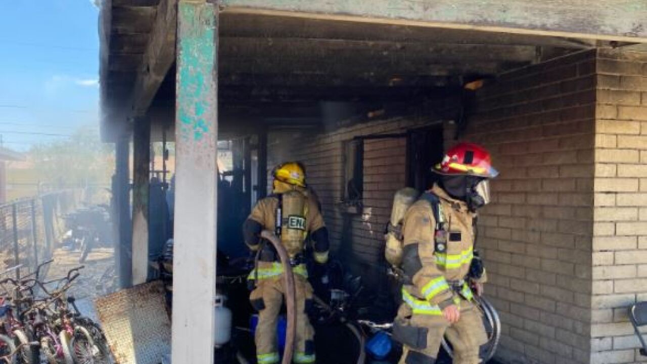 Three people lost their homes in a house fire Friday. Photo via Tucson Fire.