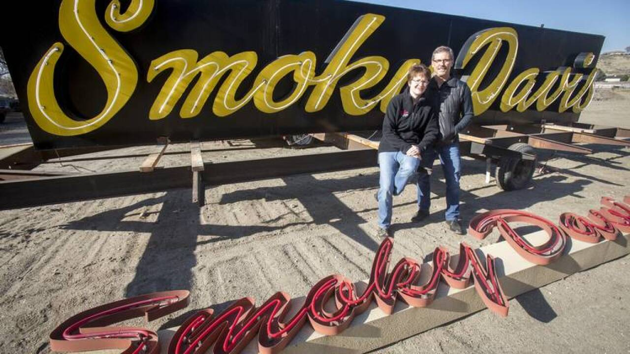 Smoky Davis was one of the business casualties during the widening of State Street and Veterans Memorial Parkway. Gary and Dee Davis hope to rebuild, and the old sign is ready in their backyard if that happens. ACHD on Tuesday added an item to its Wednesday agenda to approve a $1.8 million settlement with the Davises.