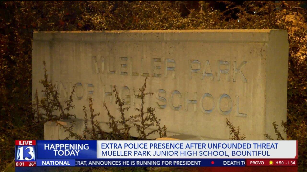 Threat against Mueller Park Jr. High deemed unfounded; police presence increased forFriday