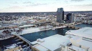 Snowy Grand Rapids drone