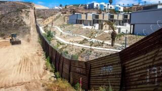 Border wall under construction in San Diego
