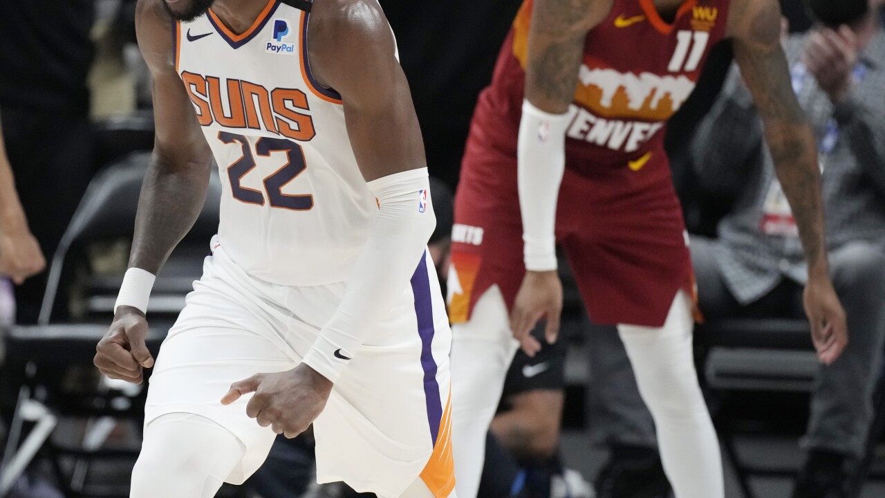 The Phoenix Suns completed a four-game sweep of Denver to reach the Western Conference Finals for the first time since 2010. AP photo.