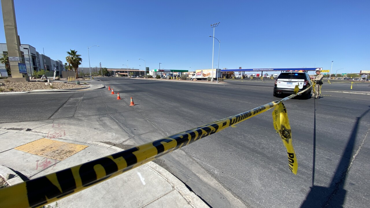 Las Vegas block off Dean Martin Drive near Blue Diamond after a barricade and hostage situation which began nearly 30 hours earlier.