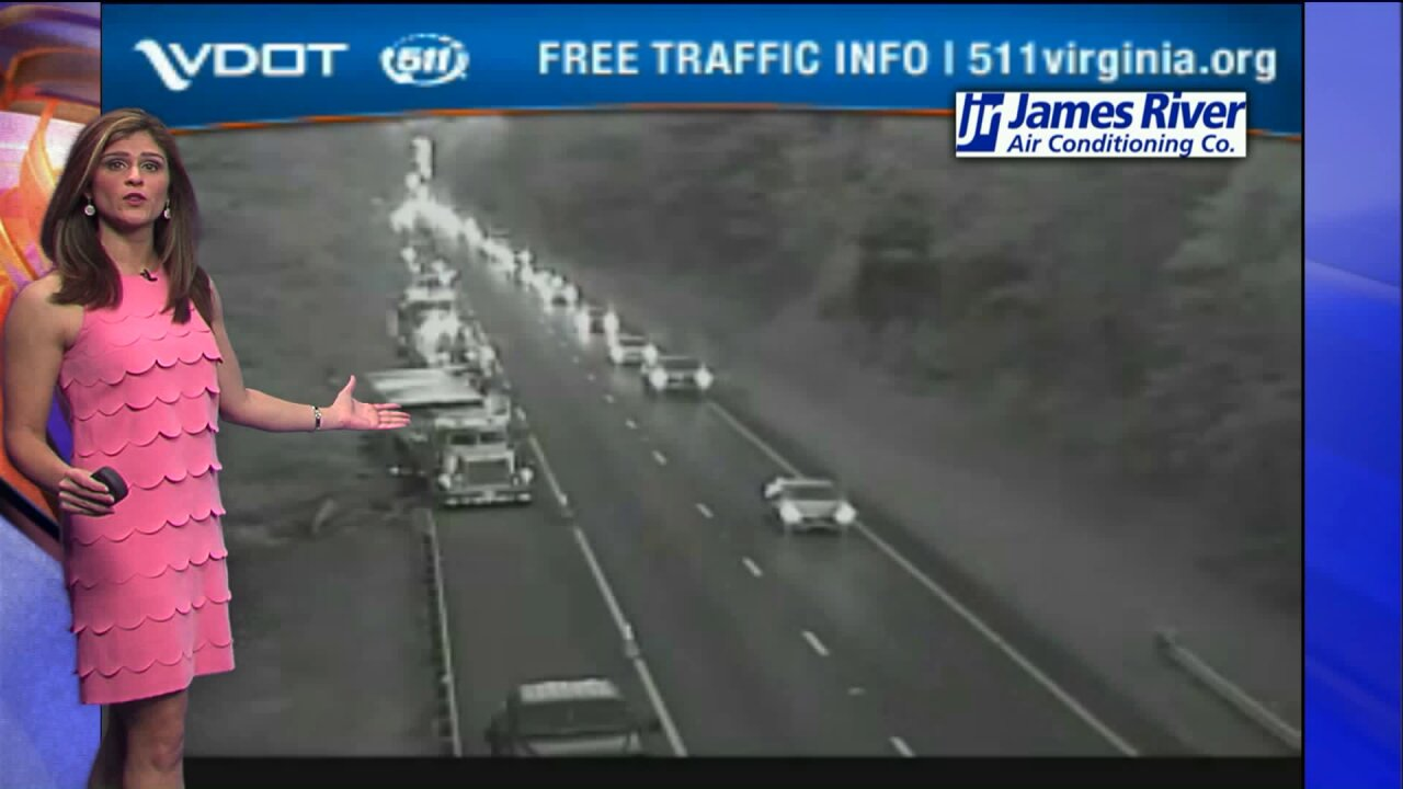 Crash backs up traffic on Interstate 64