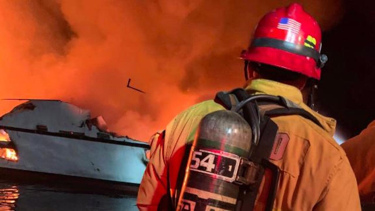 Passengers killed and missing in California dive boat fire as firefighters struggle to put out the blaze