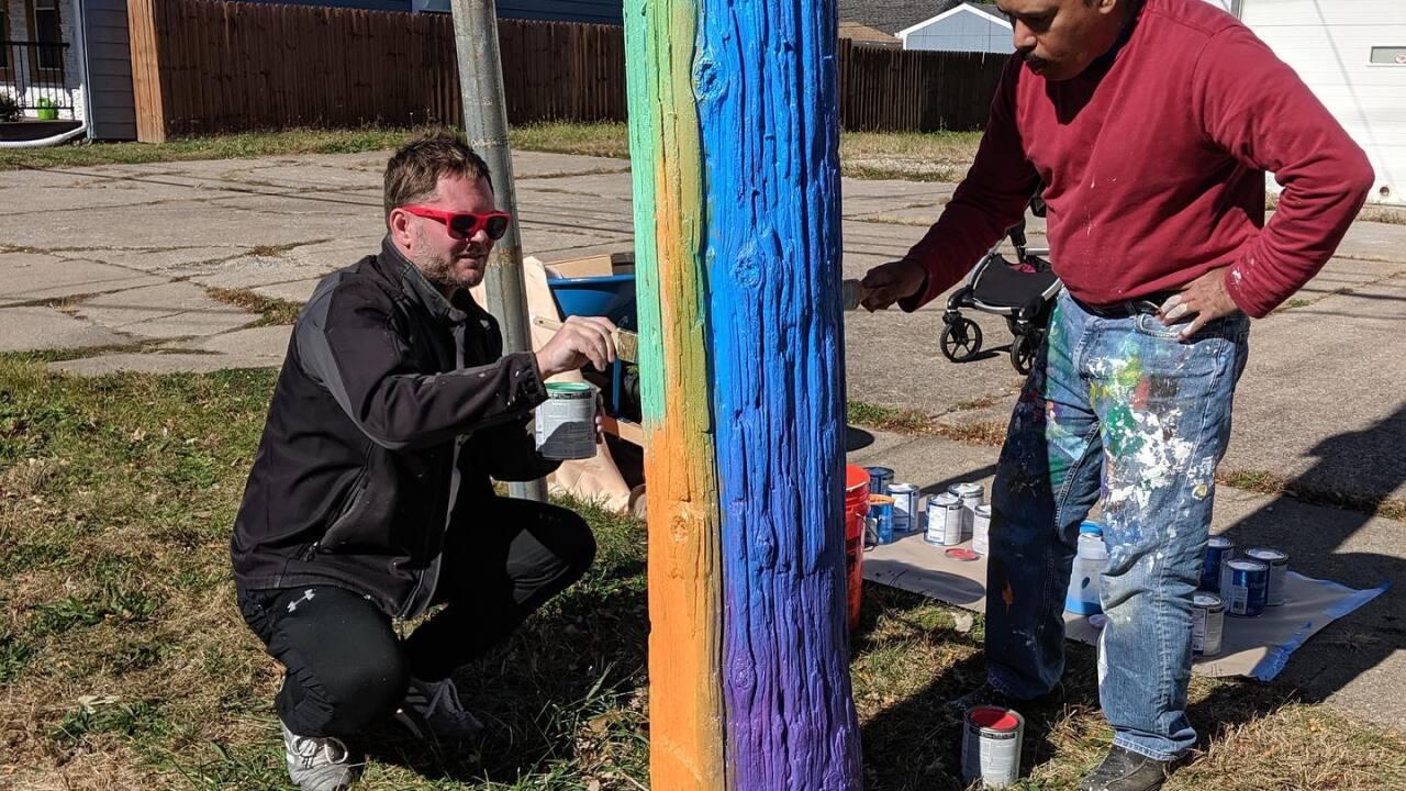 Colorful poles in Detroit Shoreway