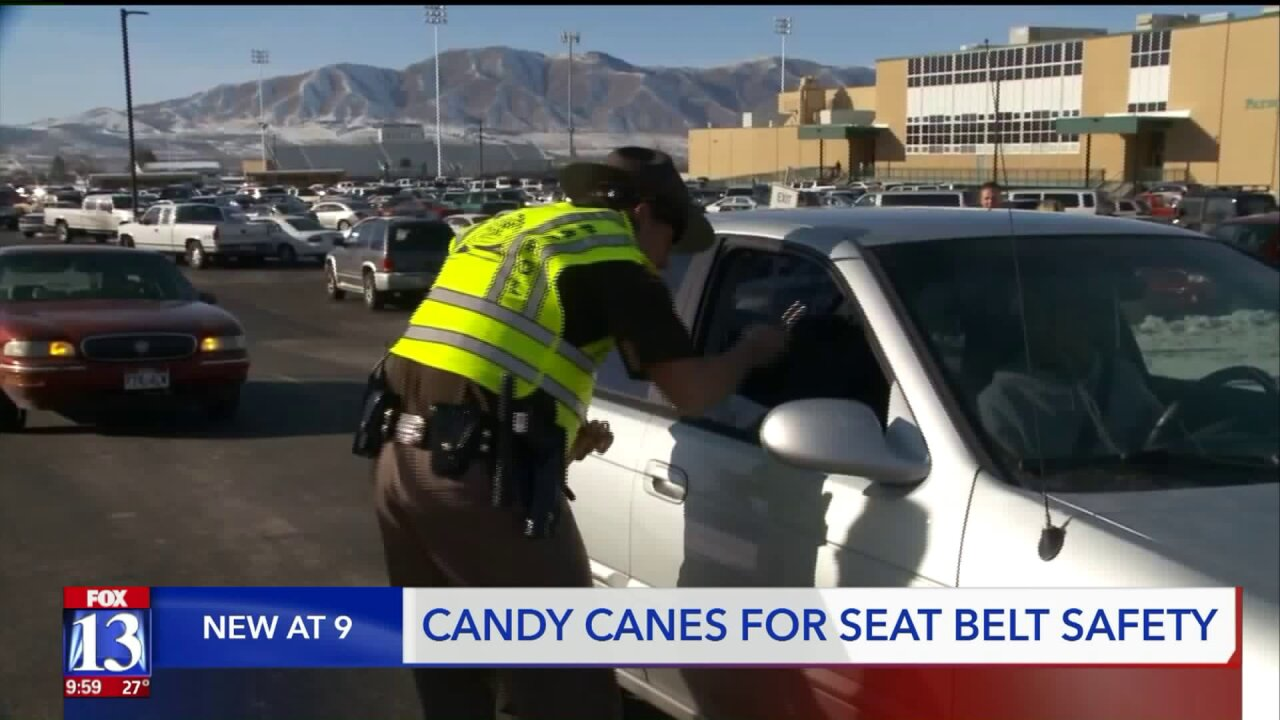 Utah Highway Patrol troopers reminds teens to 'click it or ticket' with candy canes